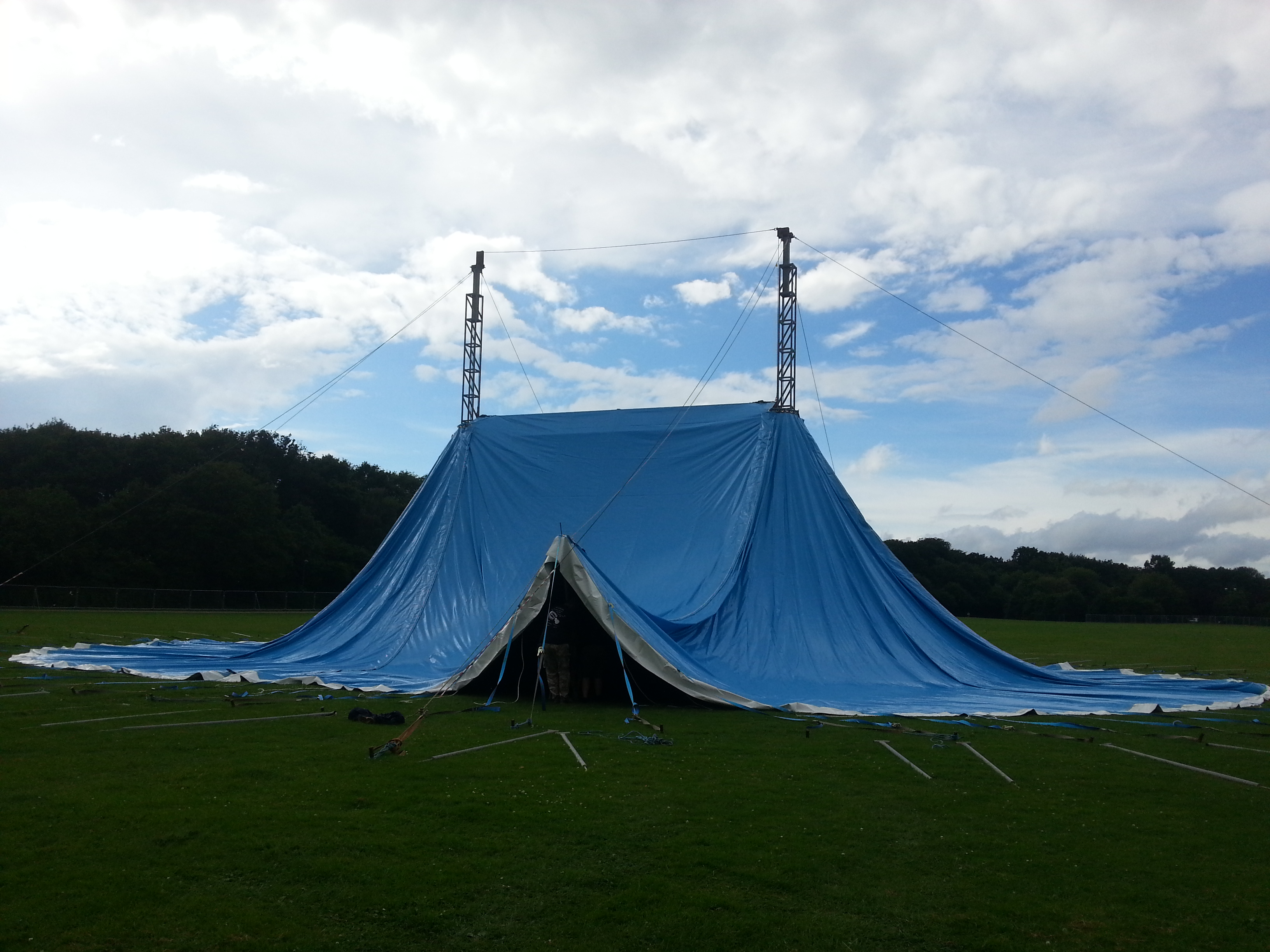 The original Worthy Farm made Blue Tent. & New Blue Tent | Albion Woods
