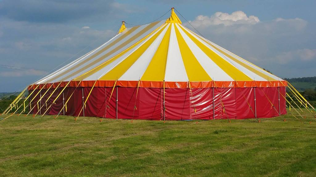 New Yellow & White Striped Tent Roof
